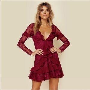 NWT For Love & Lemons maroon lace dress